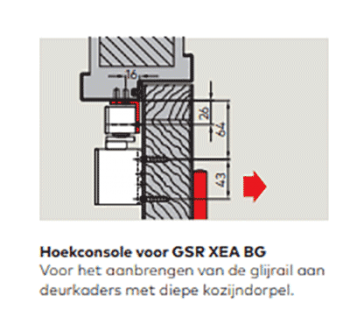 Dorma hoekconsole voor glijarm TS92-98 XEA wit RAL9010