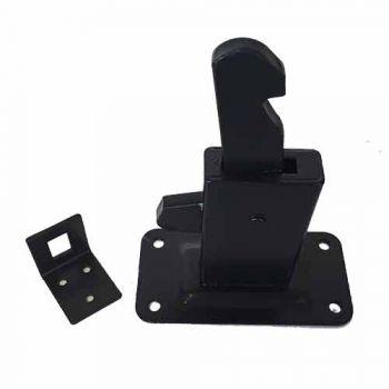 Deurvastzetter zwart, liggend model geschikt voor wandmontage.